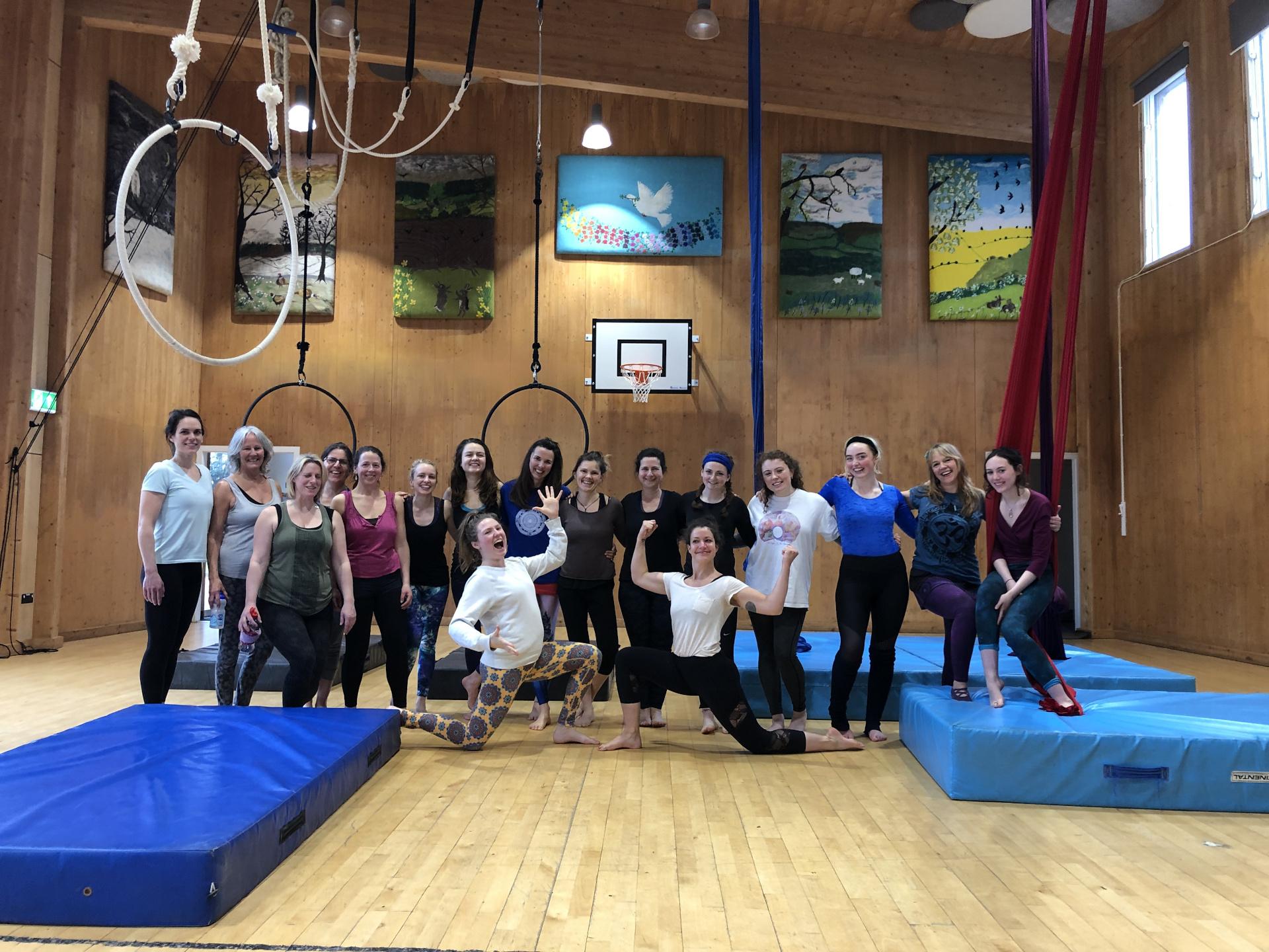Group teaching shot hoop banner